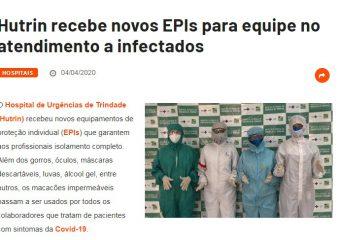 Portal Medicina S/A destaca doação de EPI's recebida pelo Hutrin